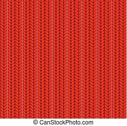 Knitted Seamless Pattern. Red. Vector