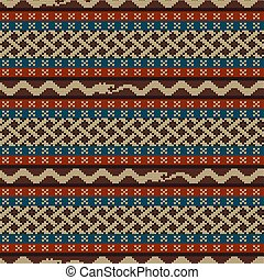 Knitted seamless pattern with elements of the Celtic knot and a snake biting a snake tail that ahead
