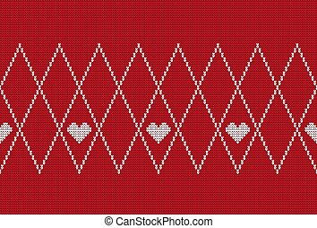Knitted seamless pattern with hearts. Red classic knitwear ornament. Fashion trendy stylish background.