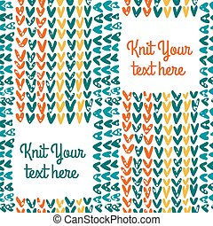 Knitted seamless pattern with text field