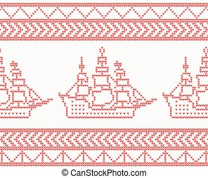 Knitted Ship Seamless Pattern in Red Color.