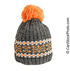 knitted ski cap isolated on white background