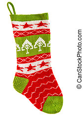 Knitted sock for gifts. Christmas stocking