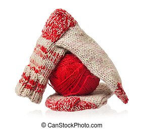 Knitted socks - Knitted warm socks with yarn threads over ...
