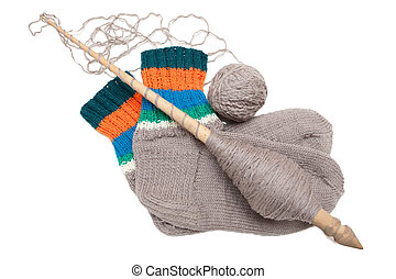 Knitted socks on a white background