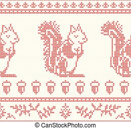 Knitted Squirrel Seamless Pattern in Red Color.