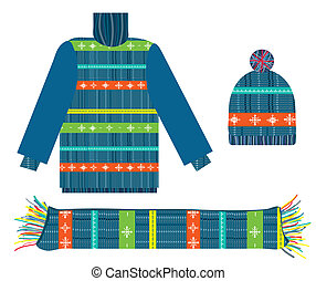 Knitted sweater, scarf and hat for Christmas collection