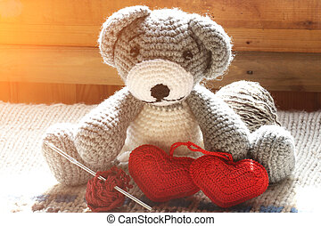 knitted toy bear a couple hearts ball of wool crochet hook hand made retro vintage
