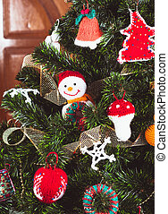 Knitted toys - Knitted christmas  toys on the christmas tree