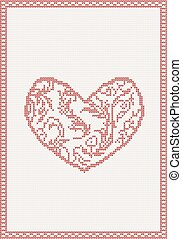 Knitted vector background with red heart
