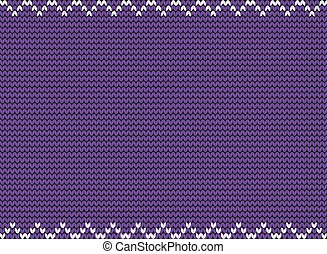 Knitted violet background with white zig zag border.