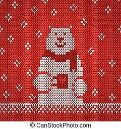 Knitted white bear warm vector illustration