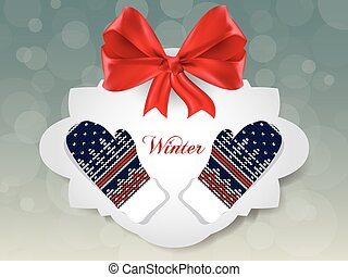 Knitted winter gloves on gift card, vector - Knitted winter...