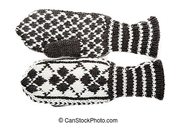 Knitted winter mittens with pattern