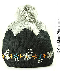 Old fashioned knitted winter woolen female cap