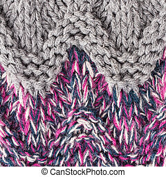 Knitted woolen fabric multicolor texture. High resolution Fabric