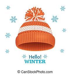 7da15f752303 Knitted woolen cap with snow goggles. winter seasonal sport hat ...