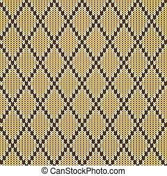 Knitted woolen seamless jacquard ornament. Beige jacquard pattern