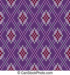 Knitted woolen seamless jacquard ornament. Claret rhombuses in the amethyst field