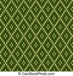 Knitted woolen seamless jacquard ornament. Green jacquard pattern