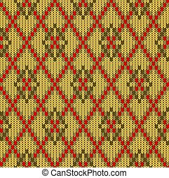 Knitted woolen seamless jacquard ornament. Mustard rhombuses and red mesh