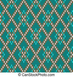 Knitted woolen seamless jacquard ornament. Turquoise rhombuses and light grid