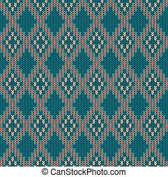 Knitted woolen seamless jacquard ornament. Vintage Blue jacquard pattern