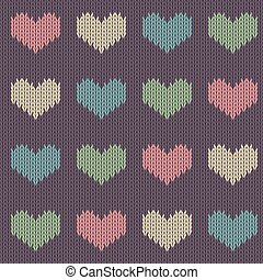 Knitted woolen seamless pattern with colored hearts on a vintage purple background. Valentine's Day
