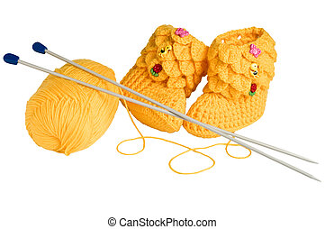 knitted, yellow booties for children
