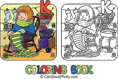 knitter, women., coloration, rigolote, livre