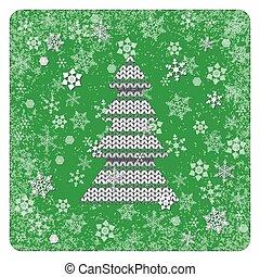 knitting., éléments, flocons neige, vendange, cadre, arrière-plan., arbre., blanc vert, noël, fond, card.