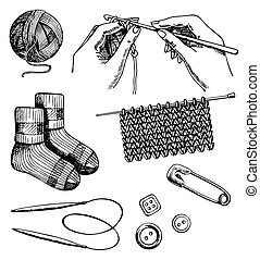 Knitting and crochet set vector ink hand drawn illustration