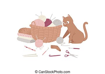 Knitting and kitten with threads, knitted scarf, cap, sweater, yarn balls and basket of wool cartoon vector illustration.
