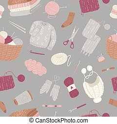 Knitting and knitwear seamless pattern with threads, knitted scarf, cap, sweater, yarn balls and basket of wool cartoon vector illustration.