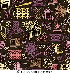 Knitting and needlework seamless pattern. Background craft,...
