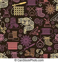 Knitting and needlework seamless pattern. Background craft,...