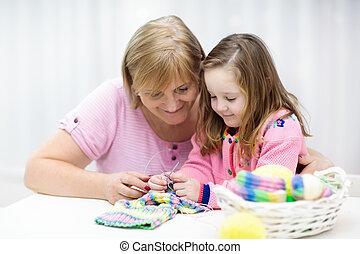 knitting., arti, madre, bambino, wear., aggrottare, kids.