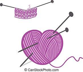 Knitting ball in a heart shape