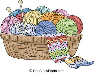 Illustration of a Wicker Basket Full of Knitting Materials