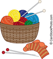 Knitting, basket with wool balls, needle and knitted socks