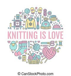 Knitting, crochet, hand made banner illustration. Vector line icon  needle, hook, scarf, socks, pattern, wool skeins and other DIY equipment. Yarn or tailor store template with place for text