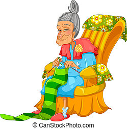 knitting granny - old lady knitting happily