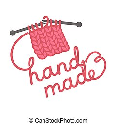 Knitting hand made lettering