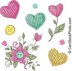 knitting., hecho, conjunto, ilustración, mano, vector