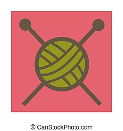 Knitting hobby, woolen threads and needles, isolated icon -...