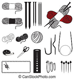 Collection of 20 tools, supplies for flat, circular and cable knitting, including: double-pointed needles, circular and cable needles, stitch holders, marker pins, knitting gauge, sewing labels.