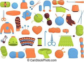 Knitting icons set, cartoon style