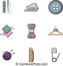 Knitting icons set, flat style