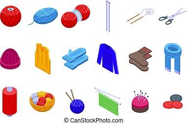 Knitting icons set, isometric style