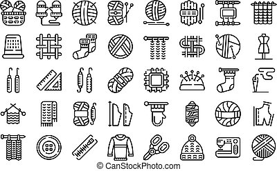 Knitting icons set, outline style